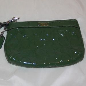 COACH Green Patent Leather Wristlet